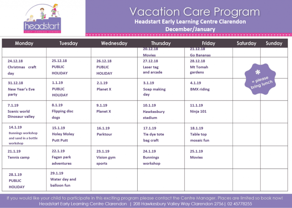 Headstart Clarendon - Vacation Care Program - Before & After School Day Care