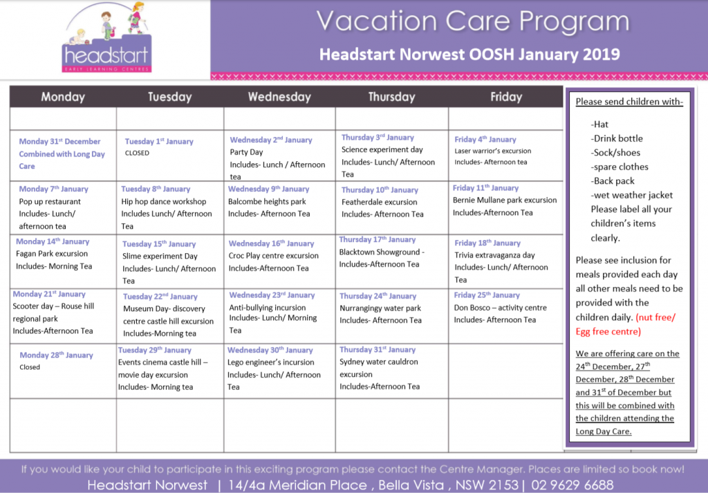 Headstart Norwest in Bella Vista - Vacation Care Program - Before & After School Day Care