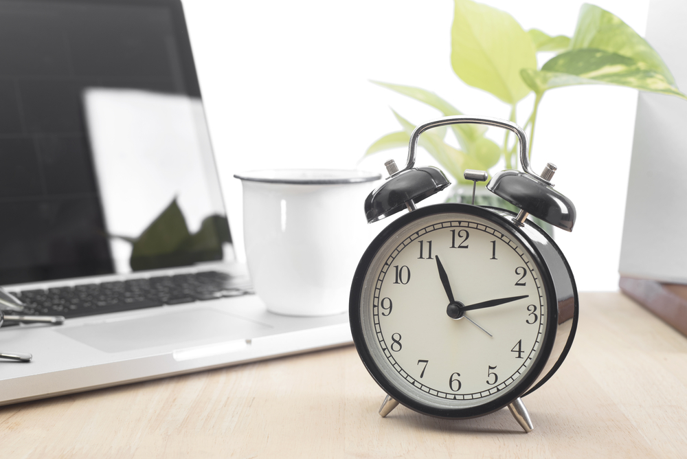 clock on a desk